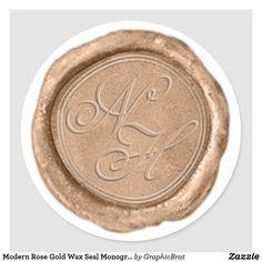 Modern Rose Gold Wax Seal Monogram Wedding Sticker Rose Gold Theme, Gold Wedding Theme, Monogram Wedding, Monogram Initials, Copper Colour Palette, Copper Wedding, Wedding Envelopes, Wedding Stickers, Wax Seals