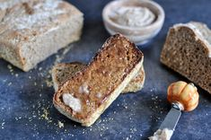 Whole Wheat Pumpkin Spice English Muffin Bread with Brown Sugar Cinnamon Butter | How Sweet It Is