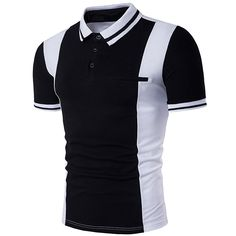 Buy Men's Fashion Contrast Color Short Sleeve Polo T Shirt - - and Find More From Our Large Selection of Men's Shirts With Big Discount. Camisa Polo, Polo T Shirts, Short Sleeve Polo Shirts, Moda Formal, Discount Designer Clothes, Discount Clothing, Business Fashion, Business Casual, Men Casual