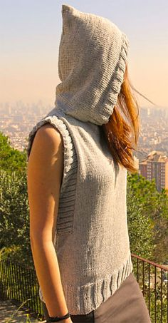 Free Knitting Pattern for Vest With Hood - Easy vest knit out of rectangles, with some picked up stitches for the ribbing around armholes. Any yarn weight. Sizes from S to XXXL. Designed by Lanasyovillos. Step by step video included. Available in English and Spanish.