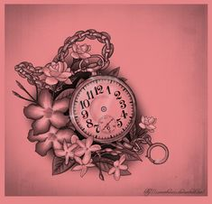 Pocket watch and flowers by ~XxMortanixX on deviantART