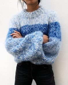Most recent Free hand knitting sweaters Style GANNI Hand Knit Wool & Mohair Sweater Pullover Outfit, Pullover Mode, Mohair Sweater, Wool Sweaters, Mens Knit Sweater, Knitting Sweaters, Hand Knitted Sweaters, Sweater Knitting Patterns, Blue Sweaters