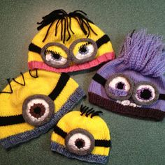 Knitting patterns for Minion Hats - Available in baby, toddler, small adult, and large adult size hats; minions with one eye, or two, eyelids or not...so many options!!! Makes evil minions too!