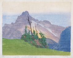 WALTER J. PHILLIPS  The Mountain.   Color woodcut on Japan paper, 1927