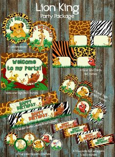 Lion King Birthday party package, Belle Birthday Party | PapelPintadoDesigns - on ArtFire