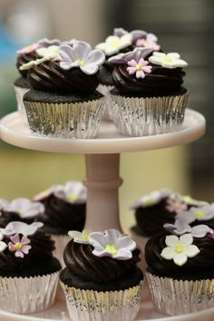 Chocolate Cupcakes and Spring Gum Paste Flowers