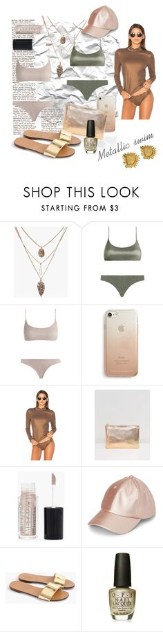 """Metallic"" by liahayes ❤ liked on Polyvore featuring Zimmermann, Rebecca Minkoff, Marysia Swim, South Beach, Boohoo, J.Crew, OPI and Yves Saint Laurent"