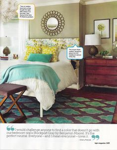 Our Charcoal Gray and Teal Floating Medallion Hand Tufted Rug in and HGTV magazine article on YHL.