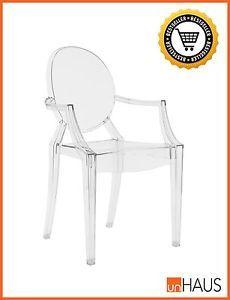 Stuhl-VITO-ARM-insp-Kartell-Louis-Ghost-Philippe-Starck-NEU-Glasklar-Bestseller