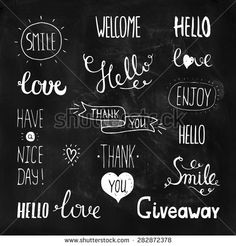 Vector photo overlays, hand drawn lettering collection. Hello, love, thank you, giveaway, smile, enjoy, have a nice day, welcome on white background