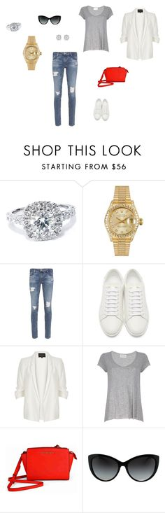 """""""Без названия #1163"""" by newyorkstylrer ❤ liked on Polyvore featuring Bliss Diamond, Rolex, AG Adriano Goldschmied, Yves Saint Laurent, River Island, American Vintage, Michael Kors and Effy Jewelry"""