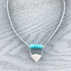 Stirling Silver necklace featuring Amazonite Beads Blue