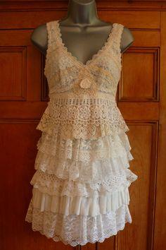 Encajes hechos a mano de crema vintage resbalón vestido upcycled boda Woodland