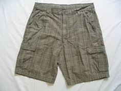 WRANGLER HERO CARGO Shorts Size 36 Light Gray Plaid Checks 8 Pockets #Wrangler #Cargo