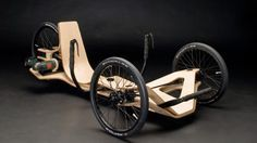 FUN. The Rennholz trike has a frame made from bent plywood and is powered by a Bosch cordless drill/driver.