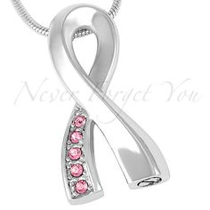 """No.38 Stainless Steel Breast Cancer Ribbon Cremation Jewelry Pendant Urn with 20"""" Chain & Fill Kit"""