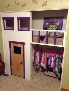 22 Ideas Kids Closet Playhouse Basements For 2019 Reading Nook Closet, Closet Nook, Playroom Closet, Bed In Closet, Kid Closet, Closet Ideas, Closet Fort For Kids, Kids Playhouse Plans, Indoor Playhouse