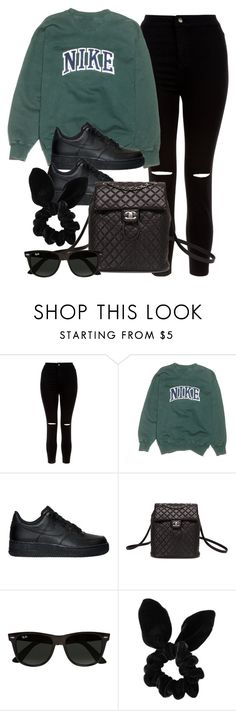 """Style #11055"" by vany-alvarado ❤ liked on Polyvore featuring New Look, NIKE, Chanel, Ray-Ban and Topshop"