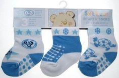 Three pairs baby boy socks blue football sneaker  0/3/6/12 months 3 pair pack
