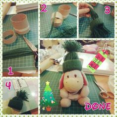 How to make a beanie decor? materials: toilet roll and yarn 1) cut a ring out from the toilet roll approx 2cm width. Cut strands of yarn of approx 30cm length 2)Loop the yarn into the toilet roll ring 3) after all the yarns are looped. Invert the yarn by putting then through the toilet roll ring 4) tie the yarn together and adjust your hat. It's done :)