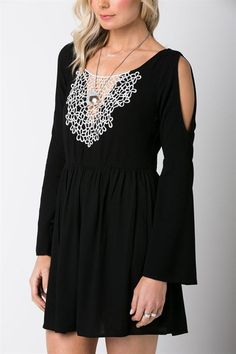 Long sleeve shoulder cut crochet dress! Great item for the cold weather when you want to stand out and be subtle at the same time!