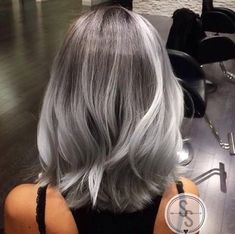 Granny Silver/ Grey Hair Color Ideas: Balayage Grey Medium-Length Hair (Hair Color Tips) Medium Hair Styles, Short Hair Styles, Silver Grey Hair, Silver Hombre Hair, Grey Hair Bob, Grey Ombre Hair Short, Brown Hair, Hair Shades, Ombre Hair Color