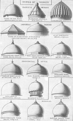 """"""" Types of Domes in Islamic/Indo-Islamic Architecture Images are from Sir Benister Fletcher's A History of Architecture, images' copyright is of the respective authors"""" #islamicarchitecture"""