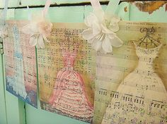 Free Printable Vintage Music Sheets (to  paint or stencil images on as seen above for beautiful shabby wall art !)