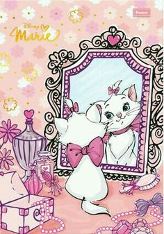 Zhui star DIY diamond embroidery cat in mirror Diamond painting Cross Stitch full square Rhinestone mosaic home decoration Walt Disney, Disney Cats, Cute Disney, Disney Cartoons, Disney Magic, Marie Aristocats, Disney And Dreamworks, Disney Pixar, Disney Characters