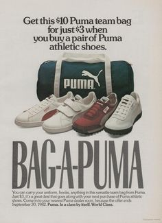 Bag-A-Puma discount bag offer. Vintage Sneakers, Shoes Ads, Hype Shoes, Nike Cortez Vintage, Shoe Poster, Retro Graphic Design, Creative Shoes, Soccer Boots, B Fashion