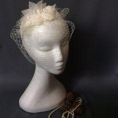 Ivory birdcage veil bridal fascinator headband by BlueLilyMagnolia