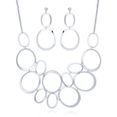 BERRICLE Silver-Tone Open Oval Fashion Necklace and Earrings Set ($29) ❤ liked on Polyvore featuring jewelry, earrings, sets, earrings and necklace set, women's accessories, earring jewelry, post earrings, silver tone earrings, post back earrings and silvertone jewelry
