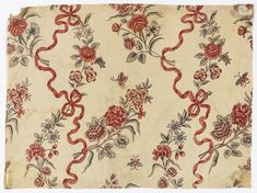 Antique Textiles and Vintage Pattern Collection 1750–1800 Its medium is cotton and its technique is mordants for 2 reds, purple and black applied by pen and brush; madder dyed; blue applied over resist; yellow applied over blue for green, (chintz) on plain weave Surface Pattern Design Inspiration