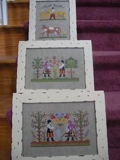 Tradicna slovenska vysivka - scenky zo zivota na dedine - strojova vysivka - design prevzaty z embroidery library