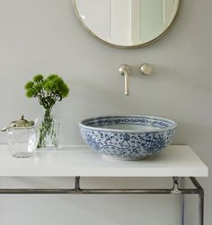Blue and white has enduring appeal in interiors and this gorgeous Coralie basin from the London Basin Company gives this classic combination a fresh, contemporary focus. The hand decorated porcelain basins from the London Basin Company make perfect accent pieces for bathrooms and cloakrooms londonbasincompany.com