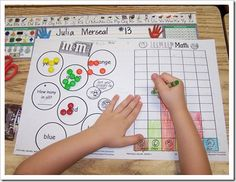 This activity helps students collect, organize, and display data. Using M&M's, students sort objects by color and graph the data on a bar graph. This activity is hands-on and be used with various objects. Bilingual Classroom, Math Classroom, Kindergarten Math, Teaching Math, Classroom Ideas, Graphing Activities, Math Games, Numeracy, Kid Activities