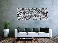 Abstraktes Acrylbild modern schlicht schwarz weiß 70x180cm von xxl-art.de