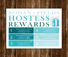 Hostess Rewards Card  Rodan and Fields by UncommonPaperie on Etsy