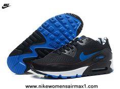 Cheap Black Blue Nike Store For Air Max 90 Premium EM QS Mens Trainers