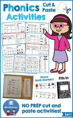 CVC Words Worksheets Phonics Cut and Paste Activities Set 1 Short Vowels Phonics Activities, Reading Activities, Teaching Reading, Guided Reading, Teaching Ideas, Sight Words, Cvc Words, Reading Centers, Word Reading