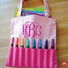 Monogram Crayon Bag  Personalized Crayon by HeatherRogersDesigns, $15.00