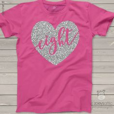 girls birthday shirt, sparkly glitter eight heart dark t-shirt