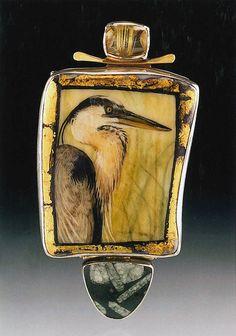Ali Wieboldt. Great Blue Heron Pin