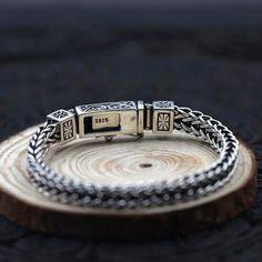 Gold Chain For Men Men's Sterling Silver Fleur De Lis Wheat Chain Bracelet - Mens Silver Jewelry, Silver Bracelets, Bracelets For Men, Sterling Silver Necklaces, Mens Jewellery, Bracelet Men, Leather Bracelets, Jewellery Designs, Silver Ring