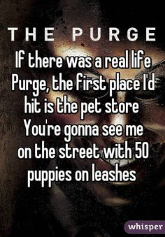 If there was a real life Purge, the first place I'd hit is the pet store  You're gonna see me on the street with 50 puppies on leashes