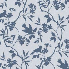 98 roll Birds In Trees Blue wallcovering :AD003 Astek Inc Digitals - Bird wallpaper modern wallcovering