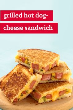 Whip up this Grilled Hot Dog-Cheese Sandwich recipe. If you love mustard-y, relish-topped hot dogs and grilled cheese sandwiches, you'll love Grilled Hot Dog Cheese Sandwiches, a tasty combination of the two! Cheese Sandwich Recipes, Grilled Cheese Recipes, Soup And Sandwich, Sandwiches, Hot Dogs, Grilling Recipes, Cooking Recipes, Cooking Pork, Grilled Sandwich