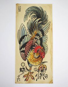 High-quality Giclée-Print on Hahnemühle William Turner 190 gsm FineArt Aquarell paper 23 x 50 cm, unframed Rooster Tattoo, Rooster Art, Hahn Tattoo, Tattoo Drawings, Body Art Tattoos, Traditional Tattoo Bird, Dessin Old School, Tiger Tattoo Sleeve, Tattoo Posters