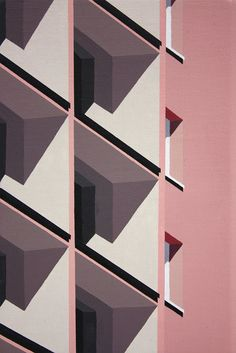Fondant pink, jasmine, white and black form these stunning perspective paintings by Roos van Dijk