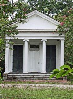 Little Greek Revival House front Small cottage on the grounds of Wohlden House, ca Canton, MS. Greek Revival Architecture, Southern Architecture, Classical Architecture, Architecture Details, Landscape Architecture, Facade Design, Exterior Design, Greek Revival Home, Cottage Design